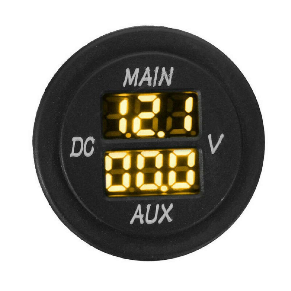 MASO Car Motorcycle DC 12-24V Dual LED Digital Round Panel Voltmeter Ammeter Amp Volt Meter Guage(Orange) by Maso