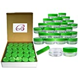 (Quantity: 2000 Pieces) Beauticom 3G/3ML Round Clear Jars with GREEN Lids for Scrubs, Oils, Toner, Salves, Creams, Lotions, Makeup Samples, Lip Balms - BPA Free