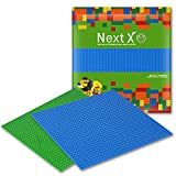 NextX 2 Pack Brick Baseplates Compatible with LEGO Brick Building Toys,10'' X 10'' Thickening Base Plate for Major Brand Building Blocks