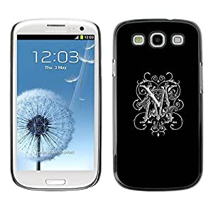 Paccase / SLIM PC / Aliminium Casa Carcasa Funda Case Cover para - M initials love black Maggie Marie white - Samsung Galaxy S3 I9300