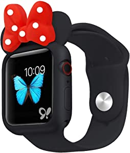 Nenis Cartoon Soft Silicone Protective Frame Anti-Scratch Cover| Case Mouse Ears Compatible with Apple Watch Series 6, Series 5 and Series 4 (Black - Red, 44mm)