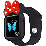 Nenis Cartoon Soft Silicone Protective Frame Anti-Scratch Cover| Case Mouse Ears Compatible with Apple Watch Series 5 and Series 4 (Black - Red, 40mm)