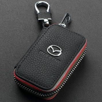 ESMPRO Mazda Black Leather Car Key Case Coin Holder Zipper Remote Wallet Key Chain Bag