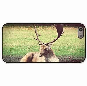 For Case Iphone 6 4.7inch Cover Black Hardshell Case deer grass lie Desin Images Protector Back Cover
