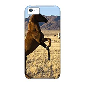 Initial Love Design High Quality Fighting Stallions Cover Case With Excellent Style For Iphone 5c