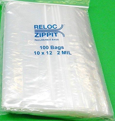 """ZIPLOCK BAGS LARGE 10"""" x 12"""" CLEAR 2 MIL ZIP RECLOSABLE 100 BAGS ZIPPIT RELOC (LZ 1.9 FRE) NOVELTOOLS"""