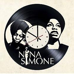 Nina Simone vinyl wall clock - handmade artwork home bedroom living kids room nursery wall decor great gifts idea for birthday, wedding, anniversary - customize your (White/Black)