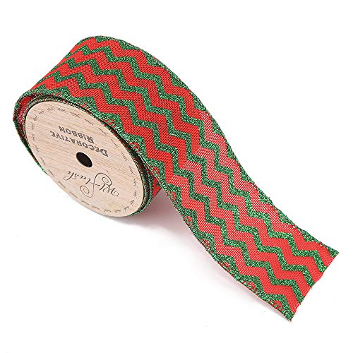 Fine Linen Wired Christmas Ribbon,2-1/2 Wide by 10 Yard Spool (Red Green Satin)