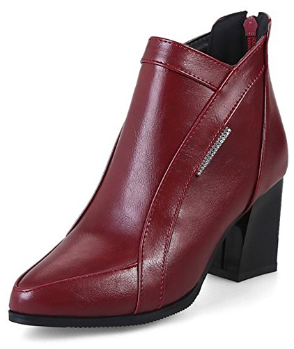 Aisun Womens Fashion Dressy Zip Up Mid Block Heel Ankle Boots Pointed Toe Booties Shoes With Zipper Wine Red pkh8nTX