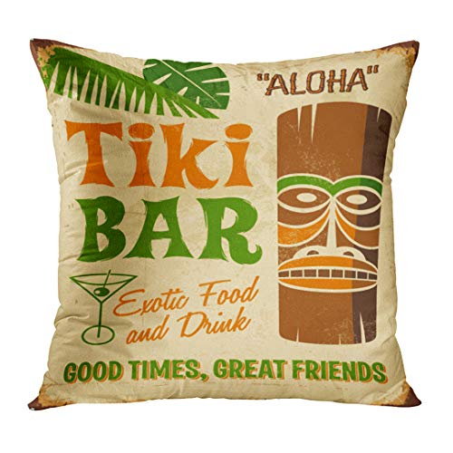 Emvency Throw Pillow Cover Tiki Vintage Metal Sign Tki Bar Grunge Effects Can Be Easily Removed Beach Decorative Pillow Case Home Decor Square 18x18 Inches ()