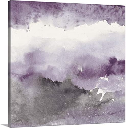 Midnight at The Lake III Amethyst and Grey Canvas Wall Art Print