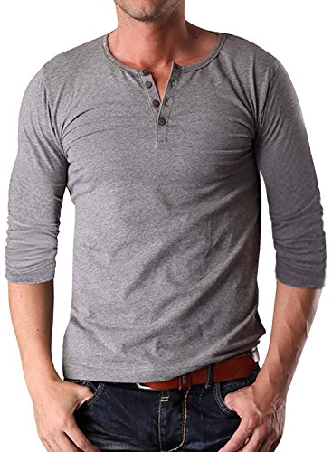 YTD Men's Casual Slim Fit Short Sleeve Henley T-Shirts Cotton Shirts S Long Sleeve Gray