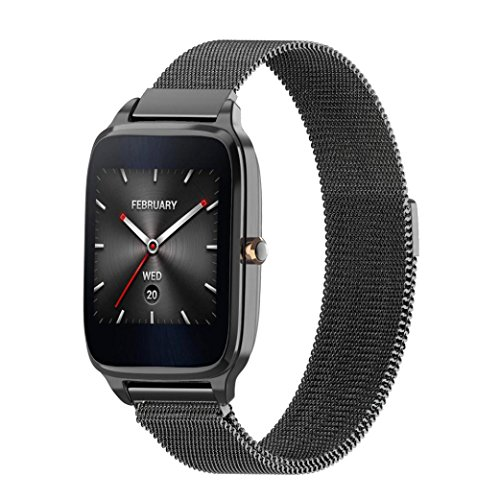 GBSELL Milanese Magnetic Loop Stainless Steel Band Strap Bracelet For ASUS ZenWatch 2 (Black)