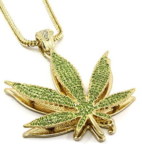 Mens Marijuana Gold Tone Green Iced Out Pendant 36
