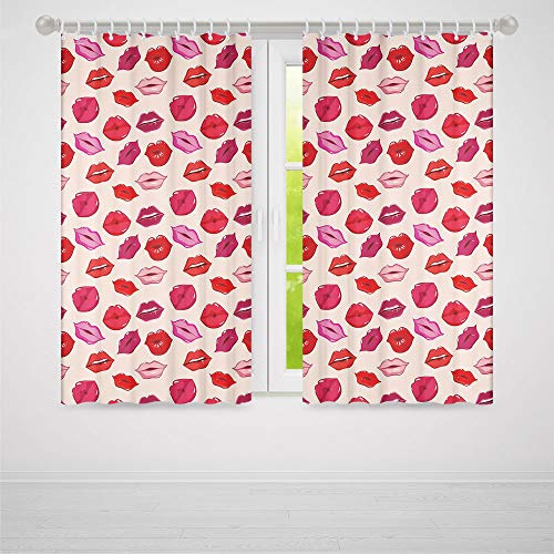 (YOLIYANA Window Curtains,Kiss,Living Room Bedroom Curtain,Vivid Colored Sexy Lips Glamour Fashion Cosmetics Make Up Theme Girls Pattern Decorative2 Panel Set,70W X 98L Inches )
