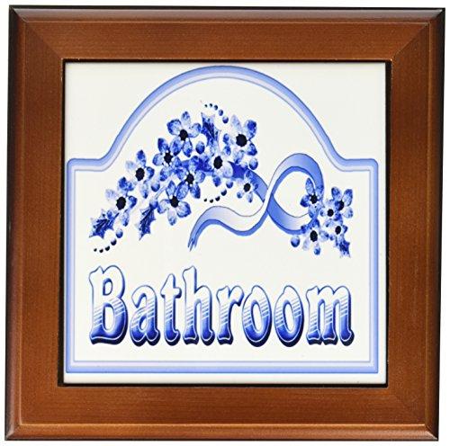 3dRose ft_60562_1 Victorian Blue Bathroom Sign Framed Tile, 8 by 8-Inch (Ceramic Victorian Tile)