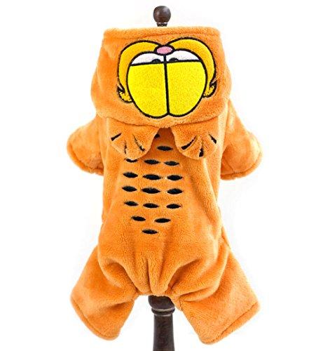 SMALLLEE_LUCKY_STORE Cartoon Cat Warm Flannel Fleece Small Dog Pajamas Hooded Halloween Coat, Small, Orange -