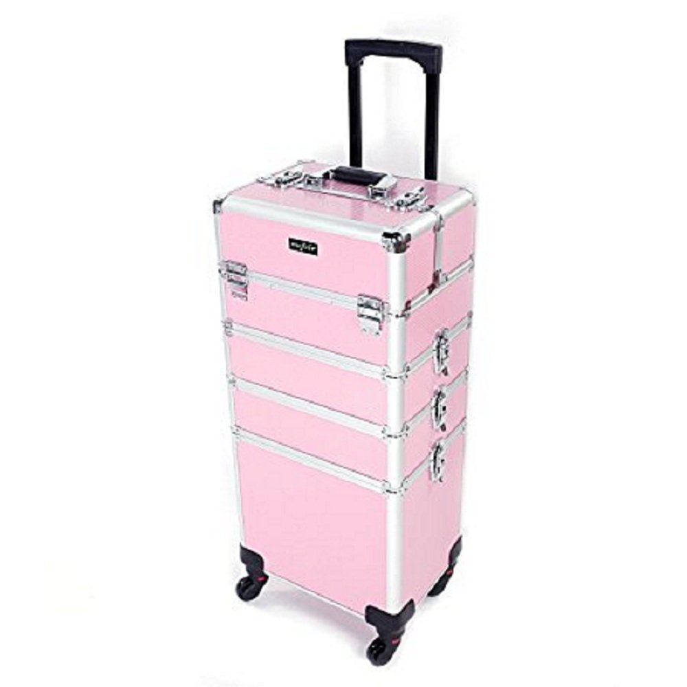 Mefeir 4-in-1 Rolling Makeup Train Case Lift Handle,4 Removable Wheels Lockable Keys,Aluminum Cosmetic Trolley Beauty Artist Organizer Box, Ideal Gift for Mother's Day (Pink)