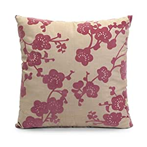 "16"" Off-White and Dark Pink Cherry Blossom Square Throw Pillow"