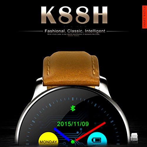 k88h reloj inteligente con pantalla IPS redondo de 1,22 pulgadas apoyo anti-lost Heart Rate Monitor Bluetooth reloj para iOS Android: Amazon.es: Electrónica