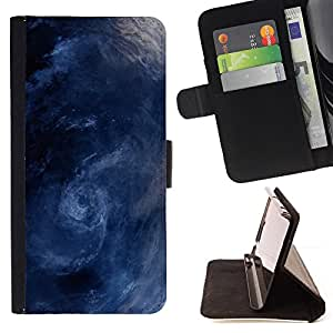 DEVIL CASE - FOR Samsung Galaxy S6 - Storm Surf Sea Waves Whirl Blue - Style PU Leather Case Wallet Flip Stand Flap Closure Cover