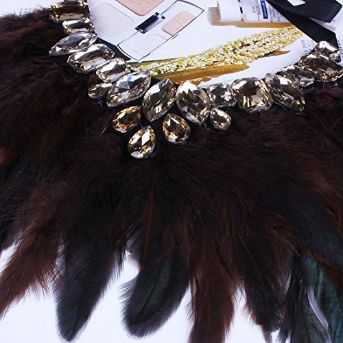 Cafe Mode elegante Strass Bling Sexy Mignon Corde Collier Collier Tour De Cou Plume