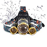 Headlamp,Brightest 8000 Lumen CREE LED Work Headlight,Rechargeable 18650 Headlight Flashlights Waterproof Hard Hat Light, Bright Head Lights, Best Head Lights for Camping Running Hiking (Gold)