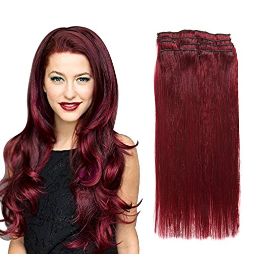 Virgin Human Hair Extensions Clip in Real Human Hair Straight Burgundy Wine Red(#99j) 7pieces 80grams/2.82oz (16