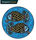 RUGSMAT Zodiac Pisces Modern Flannel Microfiber Non-Slip Machine Round Area Rug,Double Fish Scales Non-Slip Bathroom Soft Floor Mat Home Decor Round-51