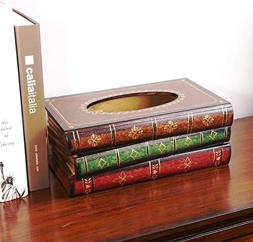 ACHICOO ティッシュボックス レトロなスタイル 本の形 木製 卓上の装飾 オシャレ 居家 雰囲気 A20-BookティッシュボックスA