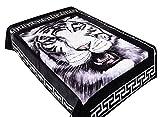White Tiger Queen Size Korean Style Mink Blanket 2 Ply 9 LBS Heavy Black White