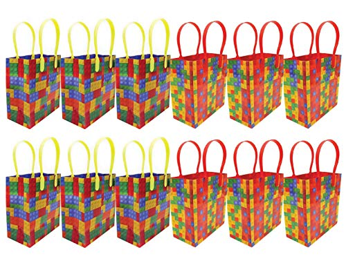 Building Blocks Brick Party Favor Bags Treat Bags, 12 Pack]()