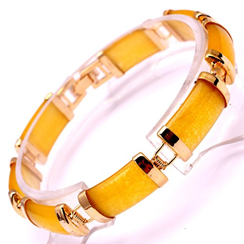GEM-inside Bracelet Semi Yellow Jade Rectangle Gold Plated Stone Tennis Beads Link Tibetan Silver Fashion Jewelry for Women 7