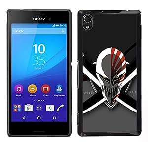 Caucho caso de Shell duro de la cubierta de accesorios de protección BY RAYDREAMMM - Sony Xperia M4 Aqua - Evil Skull & Swords