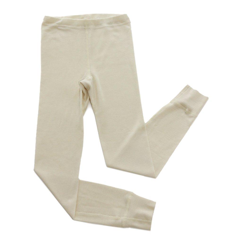 Hocosa of Switzerland Big Girls Organic Wool-Silk Long-Underwear Pants, Natural White, s. 128/8 yr