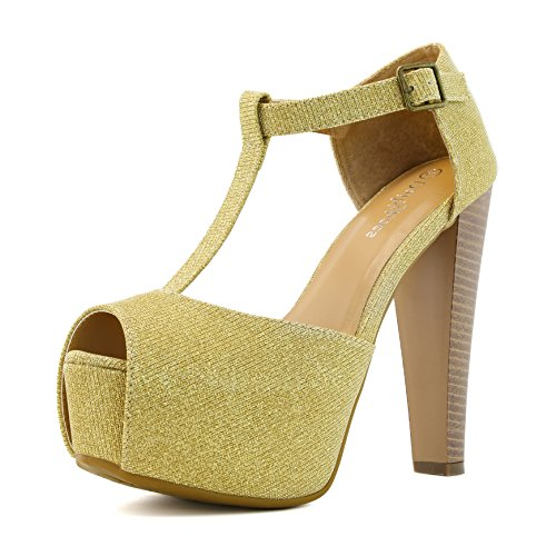 DailyShoes Women's Peep Toe Platform Sandal Pumps Open Toe Ankle Buckle T-Strap Extreme Evening Party Dress Casual Shoes, Gold GL, 8 B(M) US ()
