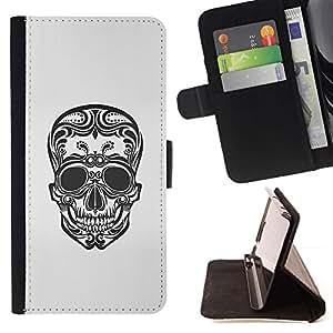 Momo Phone Case / Flip Funda de Cuero Case Cover - Arte floral Cráneo de la muerte del motorista de tinta del tatuaje - HTC One M9