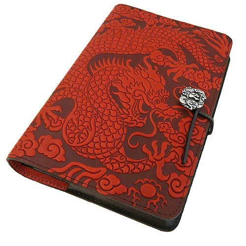 (Red Cloud Dragon American Made Embossed Leather Journal Cover, 6 x 9-inch + Refillable Hardbound Insert Book)