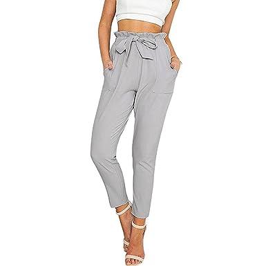 Juleya Femmes élégantes Pantalons Harem à Taille Haute élastique avec  Ceinture Pantalons légers ajustés Gris S eb6d97fa7e7
