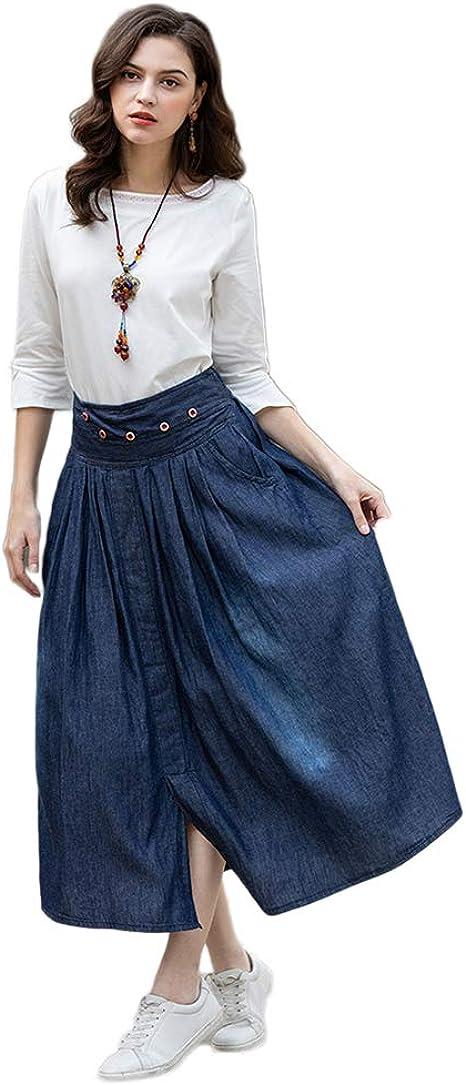 Idopy Falda de Jean Plisada con Corte elástico de Cintura elástica ...