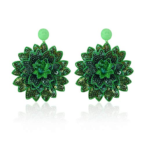 Statement Sequins Flower Earrings for Women Girls Round Drop Dangle Embroidery Handmade Bohemian Lightweight Stud Earring Summer Jewelry with Gift Box - E6 Green