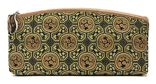 (Value Arts Gold and Black Zippered Soft Eyeglass Case Pouch, Vaco Chic Chinese Dragon Print Silk, 7.25 Inches Long )
