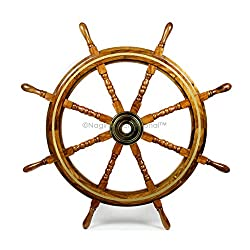 Nagina International Wooden Nautical Captain's Steering Ship Wheel with Brass Ring & Hub - Pirate Home Ocean Beach Decor Gift - Nursery Wall Hangings (42 Inches)