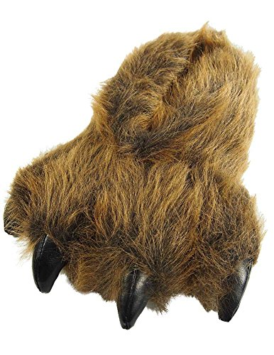 Wishpets Stuffed Animal Slippers Plush Cute Fuzzy Funny Indoor Home Shoes for Men Women and Kids - Grizzly Bear Claw ()