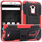 DMG Mesh Kickstand Rugged Hard Armor Hybrid Bumper Back Case Cover for Coolpad Note 3 Plus (Red)