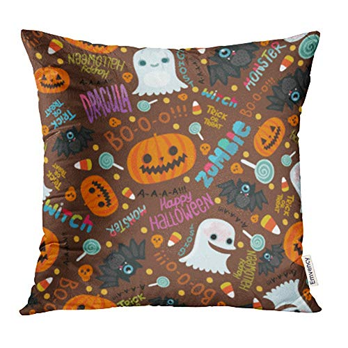 Emvency Decorative Throw Pillow Case Cushion Cover Orange Candy Happy Halloween Cute Corn Zombie Abstract Autumn Bat Brain Cartoon 18x18 Inch Cases Square Pillowcases Covers Two Sides Print]()