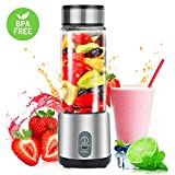 Personal Smoothie Blender,USB Rechargeable Portable Blender for Shakes and Smoothies,Small Portable Blender Juicer Cup,Multifunctional Cup Blender with 5100 mAh Rechargeable Battery for Baby Food Travel Home Office,Borosilicate Glass BPA Free
