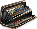Clutch Wallets For Women RFID Blocking - Genuine Leather Accordion Card Holder Organizer