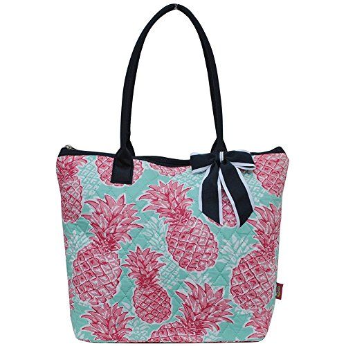 Ngil Quilted Cotton Medium Tote Bag 2018 Spring Collection (Southern Summer Pineapple Navy) ()
