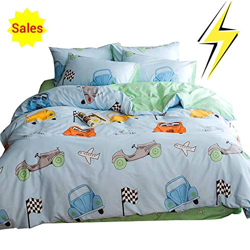 Blue Bedding Sets,No Comforter Twin OTOB Lightweight Cotton Car Duvet Cover Set 3 Piece Reversible Home Textile Vehicle Space Airplane Bedding Sets with Pillow Shams for Kids Boys Grils Toddler Crib